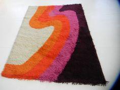 Latch hook rug vintage shag retro 60s colorblock