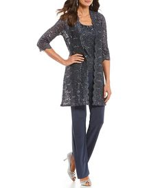 Shop for R & M Richards Sequin Glitter Scallop Lace Duster Pant Set at Dillard's. Visit Dillard's to find clothing, accessories, shoes, cosmetics & more. The Style of Your Life. Mother Of Groom Outfits, Mother Of The Bride Trouser Suits, Mother Of The Bride Clothes, Dressy Pant Suits, Rehearsal Dinner Outfits, Wedding Pantsuit, Classy Suits, Mob Dresses, Bride Dresses
