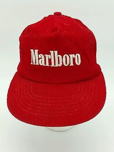 59db3c78cb9 Vintage Red Corduroy Marlboro Embroidered with rope Snapback Trucker Hat Cap