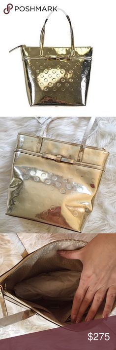 Kate Spade Gold Tote Gorgeous Kate Spade gold tote bag NWT. So cute. In perfect condition. No trades. Bundle & save 5%! 55tvjdfjx includes dust bag! kate spade Bags Totes