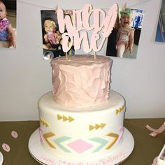 Wild One Baby Girl First Birthday Cake topper from WowWowParty.etsy.com