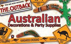 boomerang, kangaroo crossing, koala bear, animals that want to kill you Australian Party, Australian Food, 50th Party, 1st Birthday Parties, Aussie Christmas, Dinner Themes, Travel Party, Australia Day, Thinking Day