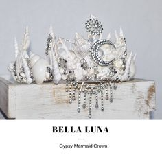 White Mermaid Crown, Festival Crown, Mystical Maiden Seashell Crown ~ BELLA LUNA. Etsy shop https://www.etsy.com/listing/550029499/mermaid-crown-festival-crown-mystical