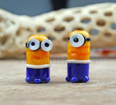 Minion bead- Made to Order - BBL Handcrafted Lampwork Glass Beads SRA Drk Blue Yellow