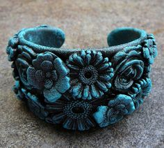 Frosted polymer clay flower cuff
