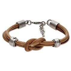 Bracelet, leather/pewter (tin-based alloy)/steel, tan, 14x11mm rondelle with large reef knot, 8-1/2 inches with lobster claw clasp and 1-inch extender chain. Sold individually.