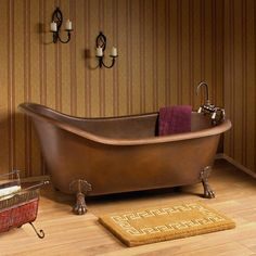 """66"""" Donnelly Smooth Copper Slipper Clawfoot Tub - Tap Deck - 7"""" Deck Holes - No Overflow"""