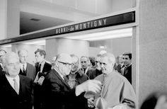 Mayor Jean Drapeau with cardinal Paul-Émile Léger at the inauguration of the Montreal métro, 1966.  The Berri-UQAM station was originally named 'Berri-de-Montigny'.