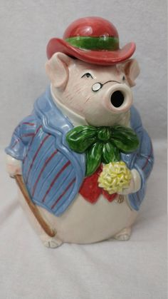 Vintage Gentleman Pig  Carrying Flowers Teapot - Barnyard Animal Teapot - Novelty Teapot Tea Pot