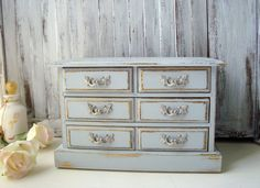 Gray Vintage Jewelry Box French Country by WillowsEndCottage, $52.00
