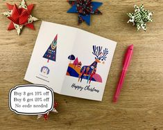 1. Scandi Stag Christmas Card. Printable. Easy to print. image 1