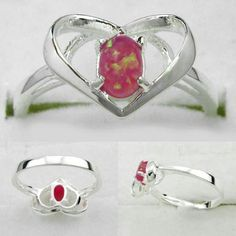 Pink Fire Opal in Pure 925 silver, size 8.5, $25