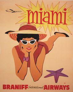 Vintage Braniff Airlines poster Miami by hmdavid, via Flickr
