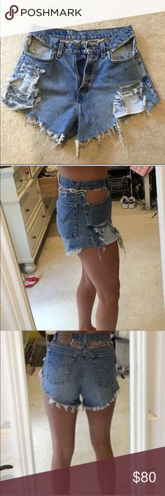 Vintage Levi reworked shorts Hand reworked! So adorable 😍 tags are gonna but they fit like a 27! LF Shorts Jean Shorts