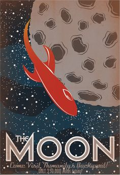 Retro Sci-Fi Moon Travel Poster - 13x19 Print