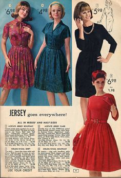 Elegant and pretty sum up these stylish frocks from 1964.