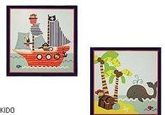 Décorations dans les ton vert, oranger, bleu pâle ,crème et brun. http://www.kidobebe.com/store/product/59278/TREASURE-ISLAND-D%C3%89COR-MURAL/