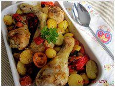 ... gewoon lekker!!       Ingrediënten:  500 g krielaardappeltjes  8 kippendijen of billen, met vel (voor krokant korstje)  2 el pasta va...
