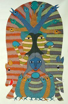 Gond Painting - Shivji and the Mahua flowers (the stages of intoxication) Rajendra Shyam - Patangarh, Madhya Pradesh State, India Tribal Art, Sri Lanka, Tribal Community, Indian Art Paintings, Indian Artwork, Indian Arts And Crafts, Madhubani Art, Indian Folk Art, Tree Of Life