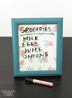 Make yourself (or a friend) an adorable dry erase board that can be used for anything from to-do lists to family reminders. (Earth-friendly bonus: You'll save a lot of paper.) Get the tutorial at One Good Thing By Jillee.  - GoodHousekeeping.com