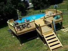 Above ground pool ideas, above ground swimming pool with deck, above ground pool maintenance, above ground pool landscaping, hacks, oval, sunken, designs, steps #deckideas #deckbuildinghacks