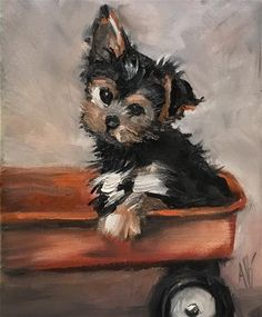 """Daily+Paintworks - """"Pup on the Wagon"""" Original Fine Art for Sale © Annette Balesteri♥♥ Animal Paintings, Animal Drawings, Art Drawings, Fine Art Auctions, Yorkshire Terrier, Dog Portraits, Illustrations, Dog Art, Watercolor Illustration"""