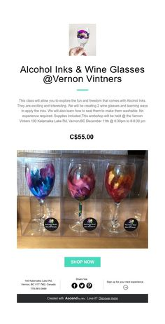 Alcohol Inks & Wine Glasses @Vernon Vintners Alcohol Ink Art, Vernon, How To Apply, How To Make, Wine Glass, Bubbles, Arts And Crafts, Glasses, Create