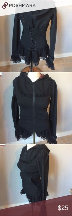 Goth Victorian sweatshirt New with tags. Goth , Victorian corset back sweatshirt. This is very very cute. It has lace trim, along with the beautiful lace up back. No damage to it. Size small. midnight hour Tops Sweatshirts & Hoodies