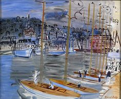 Dufy, Raoul (1877-1953) - 1938c. Yachts in the Port of Deauville (Indianapolis Museum of Art, USA)