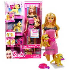Mattel Year 2009 Barbie Fashionistas Series 12 Inch Doll Playset - POTTY TRAINING PUPS (T9397) with Barbie Doll , 2 Puppies, 2 Piece of Color-Change Newspaper, Dog Bowl, Assorted Collars and Toys for the Pups