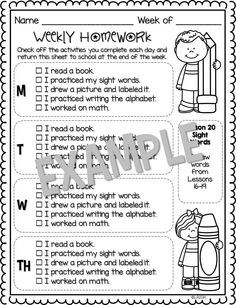 Editable Weekly Homework Checklists {Kindergarten Edition}
