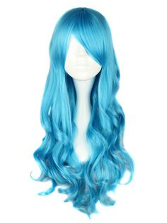 Long Curly Synthetic Lolita Costume Wig - Blue$45.99