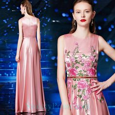 Affordable Evening Dresses, Pink Flowers, Satin, Embroidery, Formal Dresses, Fashion, Dresses For Formal, Moda, Needlepoint