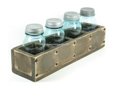 Table Centerpiece Wooden Box Wood 4 Compartment Flower Box Herb Planter Window Box via Etsy