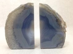 Natural Quartz Crystal Agate Bookends, Celestial Grey and Blue Stone Book Ends