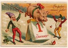 New Year's Post Card, Germany. Lucky pig adorned with amanita mushrooms jumps over the calendar. Elves (themselves lucky) and Four Leaf Clovers. - The Journal of Antiques and Collectibles Vintage Cards, Vintage Postcards, Winter Solstice Traditions, New Years Eve Day, Scandinavian Gnomes, Elves And Fairies, New Years Decorations, New Year Card, Nouvel An