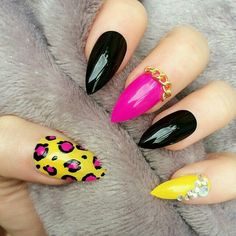 Yellow leopard print stilettos with black and pink