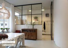 Studio Apartment Divider, Studio Apartment Layout, Studio Layout, Glass Room Divider, Diy Room Divider, Kitchen Orangery, Victorian House Interiors, Loft Wall, Separating Rooms