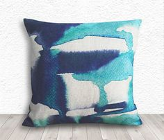 Watercolor Pillow Cover, Decorative Throw Pillows, Pillow Covers, Pillow Cases, Linen Pillow Cover, 18x18 - Blue Watercolor - 332