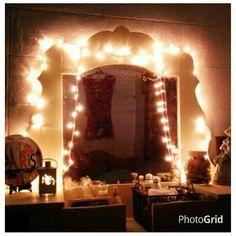 Yellow dresser in dancing fairy lights