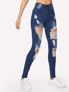 1c5faeae08a3f Ripped Bleach Wash Skinny Jeans
