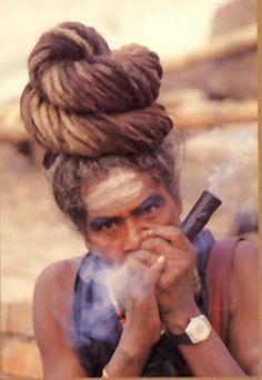 Indian Sadhu rockin' locs    I need this kind of fantastic bun in my life.