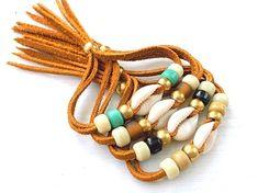 Suede Wrap Bracelet Cowrie Shell Bracelet  Boho by xxxAZUxxx