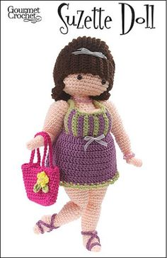 There is no rule that says crochet dolls are just for children. That is why the Suzette Doll is a popular option for any woman that wants a fun project to make and show off. Sassy Suzette is a large and lovely diva, ready for shopping and a mani-pedi. She's 16 inches tall from the tip of her strappy sandals to the top of her poufy hair.