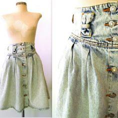 Jordache Skirts - 80s Vtg JORDACHE High Waist Acid Wash Bow Skirt