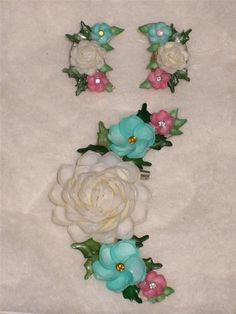 Vintage Sea Shell ROSE Flower Rhinestone Brooch & Clip On Earrings