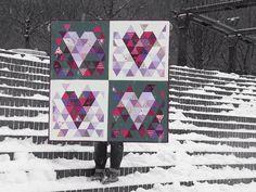 Love Triangle Quilt, feliz San Valentín!! emaiozu muxu asko, ji ji