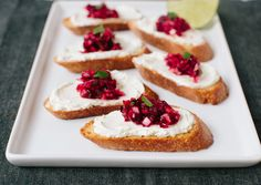 cranberry salsa on goat cheese crostini