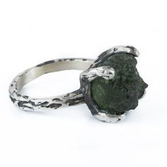 Delicate Silver & Moldavite Ring - product images of SCHJ ww.silverchamber.co.uk