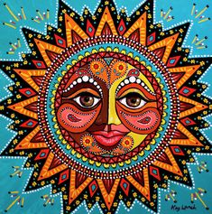 Happy Sun Art Print by Kay Larch. All prints are professionally printed, packaged, and shipped within 3 - 4 business days. Choose from multiple sizes and hundreds of frame and mat options. Madhubani Art, Madhubani Painting, Arte Tribal, Happy Sun, Sun Designs, Sun Moon Stars, Sun Art, Hippie Art, Mexican Folk Art